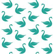Vector seamless pattern with blue swan on white background. wallpaper Stock Illustration