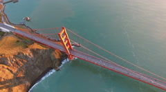 4K Aerial drone shot San Francisco panned view above golden gate Stock Footage
