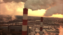 Aerial of a coal fire power station Stock Footage