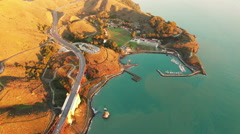 Stock Video Footage of 4K Aerial drone shot San Francisco above golden gate view point