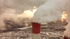aerial coal fired power plant,close up - stock footage