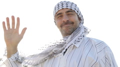 Arab waving hand and smile - stock footage