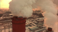 Aerial of a coal fire power station,close up Stock Footage