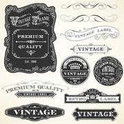 Vintage Labels and Ornaments - stock illustration