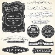 Vintage Labels and Ornaments Stock Illustration