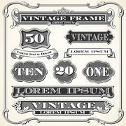 Vintage Labels, Frames and Ornaments - stock illustration