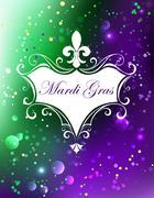 White banner with Mardi Gras Stock Illustration