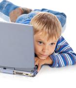 Five Years Old Boy with Laptop Stock Photos