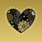 Stock Illustration of Winter love heart design with golden snowflakes. Love card.