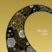 Winter design with golden white snowflakes on black background. - stock illustration