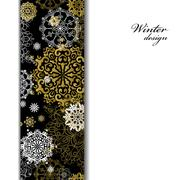 Winter design with golden snowflakes on white background. - stock illustration