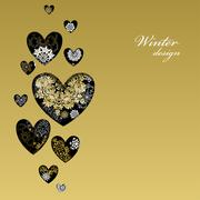 Winter love heart design with golden snowflakes. Love card. - stock illustration