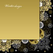 Winter design with golden white snowflakes on black background. Stock Illustration