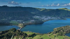 Lagoa Verde and Lagoa Azul on San Miguel island of Azores, timelapse Stock Footage