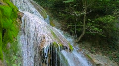 Cascade Waterfall Flowing Down On Mossy Rocks Stock Footage