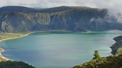 Lagoa do Fogo and green valley on San Miguel island of Azores - stock footage