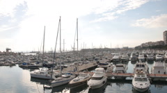Panorama from the yacht port of Alicante to the city Stock Footage