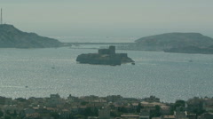Aerial of Marseille, France with Chateau d'If If Fortress Stock Footage