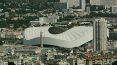 French Stadium in Marseille, France - aerial view Stock Footage