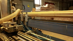 Sawmill. View of milling machine for timber Stock Footage