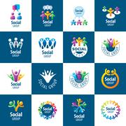 Social Group logos - stock illustration
