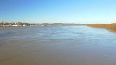 4K wide shot of Mississippi River in flood stage Stock Footage