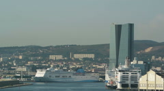Aerial of Marseille port Stock Footage