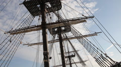 Mast of old sailing ship - stock footage