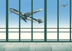 aircraft in sky - stock illustration