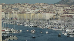Aerial view of the city of Marseille with Old Port, France Stock Footage