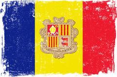 Andorra Vector Flag on White - stock illustration