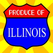 Produce Of Illinois Shield - stock illustration