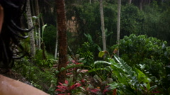 Hand held shot of a man raising his arms and looking up to the sky in the jungle Stock Footage