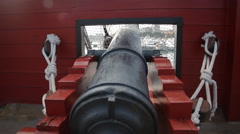 Cannon of renovated old Spanish sail ship - stock footage