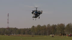 Stock Video Footage of Aerodrome. View of modern helicopter flies