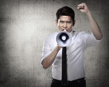 Business Man Using Megaphone Stock Photos