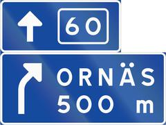 Road sign used in Sweden - Advance direction sign exit ahead from other road  - stock illustration