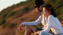 couples of younger man and woman relaxing vacation - stock footage