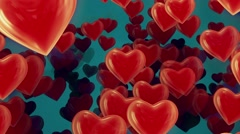 Flying hearts on blue Stock Footage