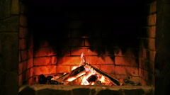 Looped: Fireplace. Burning flame. - stock footage