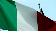 Flag of Italy Waving in the Wind in Slow Motion Stock Footage