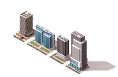 Vector isometric buildings set - stock illustration