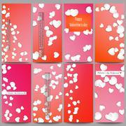 Set of modern vector flyers.  White paper hearts, red background for Valentines Stock Illustration