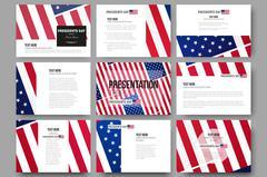 Set of 9 vector templates for presentation slides. Presidents day background - stock illustration