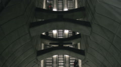 Topview timelapse of three symmetrical escalators Stock Footage