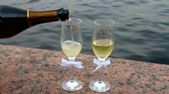 Wedding glasses. Spilling Champagne. Stock Footage