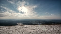 Bieszczady Mountains -landscape full HD footage. Clouds moving fast on the sky. Stock Footage
