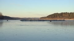 View on the fish farm in winter. - stock footage