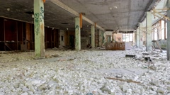 Hall of a restaurant destroyed and abandoned Stock Footage