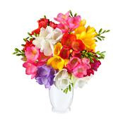 Bouquet of spring flowers in white vase - stock photo